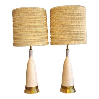 Paul László & Maria Kipp for Wilshire House Crackle Glaze Lamps With Hand Woven Shades For Sale
