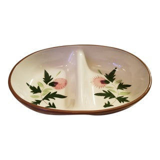 "Stangl ""Thistle"" Redware Pottery Divided Serving Bowl For Sale"