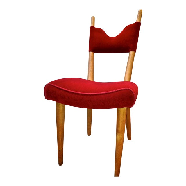 Jean Royere Pair of Documented Chairs Covered in Red Velvet For Sale