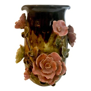 19th Century French Barbotine Majolica Applied Flowers Vase For Sale