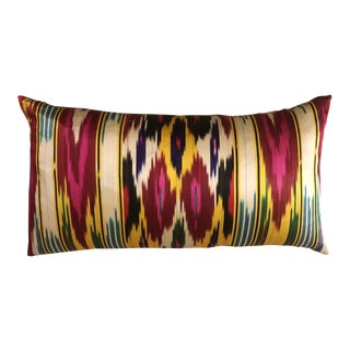 Contemporary Ikat Silk Pillow For Sale