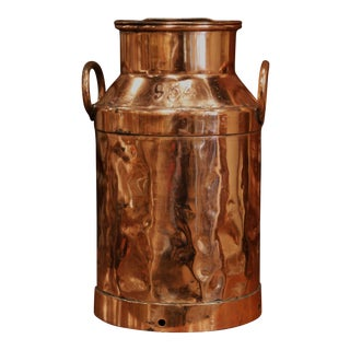 19th Century French Polished Copper Plated Milk Container With Handles and Lid For Sale