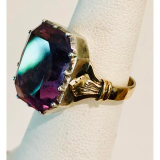 19th Century Victorian Rose De France Amethyst Ring Mounted in 14 Karat Rose Gold and Silver Preview