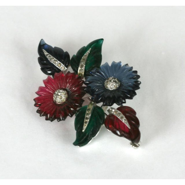 Art Deco Mazer Floral Fruit Salad Brooch For Sale - Image 3 of 5