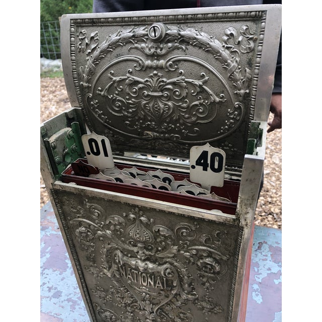 Silver Nickel Coated Brass Antique Cash Register For Sale - Image 8 of 13
