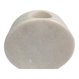 Carved White Marble Candle Holder For Sale