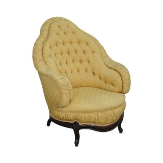 Antique 19th Century French Louis XV Style Tufted Bergere Chair