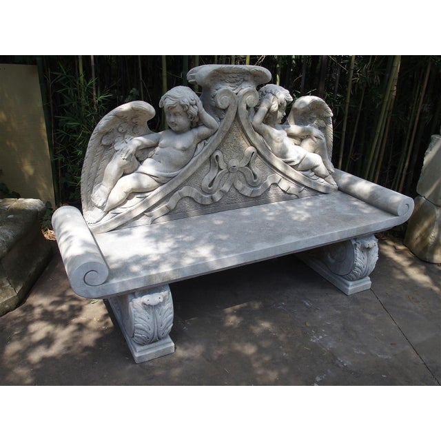 Winged Cherubs Carved Limestone Garden Bench from Italy - Image 9 of 11