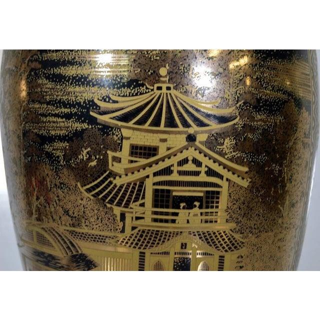 Ceramic Vintage Hand-Painted Black Gilt Porcelain Vase from 1980s, China For Sale - Image 7 of 10