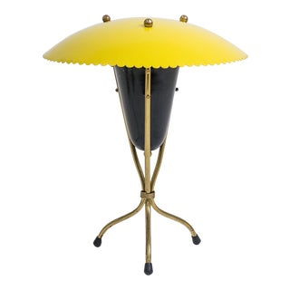 Italian Brass and Lacquered Tripod Table Lamp, 1950s
