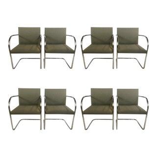 Set of Eight Chrome Brno Chairs, Gordon International Tubular Chrome Chairs For Sale