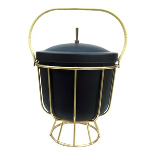 Vintage 1950s Ernest Sohn Creations Matte Black and Gold Ice Bucket For Sale