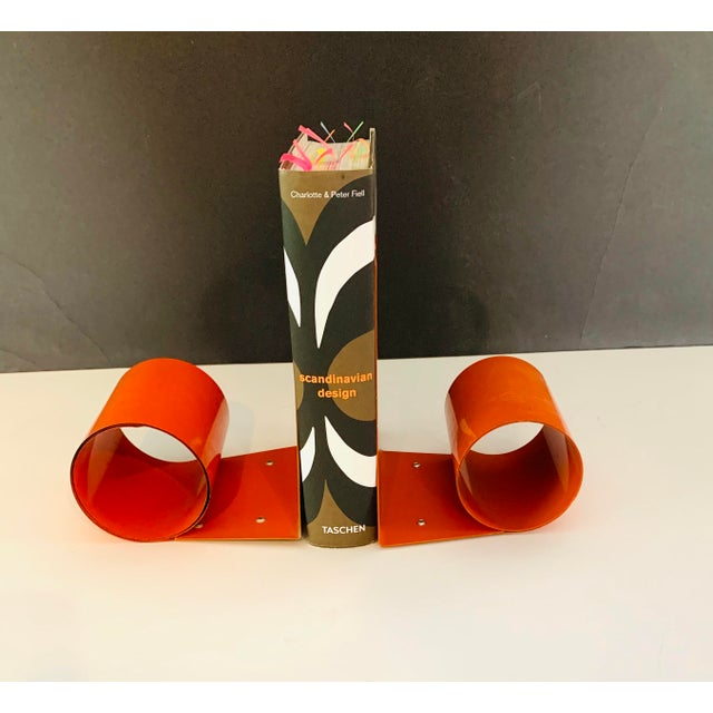 20th Century Art Deco Space Age Modernist Orange Metal Bookends - a Pair For Sale In Palm Springs - Image 6 of 7