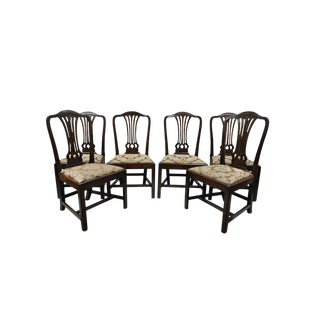 19th Century Antique Mahogany George III Chippendale Style Dining Room Side Chairs- Set of 6 For Sale