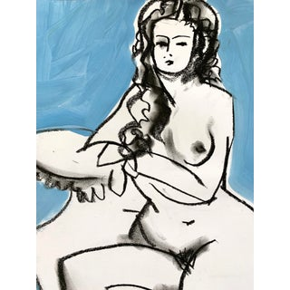 Contemporary Nude 'Ali in Blue' Charcoal Drawing For Sale