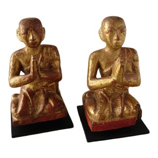 Antique Burmese Wooden Kneeling Monks - a Pair For Sale