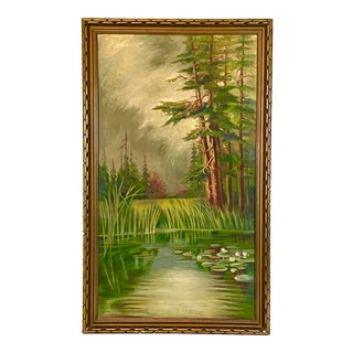 Antique Botanical Water Green Trees Painting For Sale