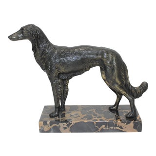 Borzoi 1920s Sculpture Bronze Patina on Marble Russian Wolfhound For Sale