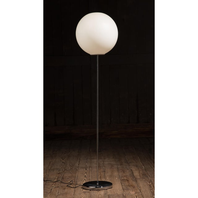 "An American Midcentury Neal small floor lamp. H 58"" x D 15"" x W 15"". The chrome base is 1.25 x 10. A white frost plastic..."