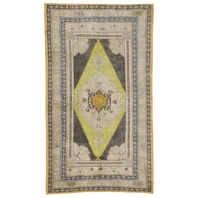 Vintage Mid-Century Turkish Oushak Area Rug - 5′1″ × 8′10″ For Sale