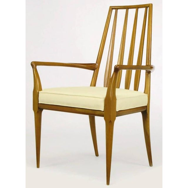 Pair of Bert England Sculpted Walnut and Off-White Linen Slatback Armchairs - Image 3 of 7