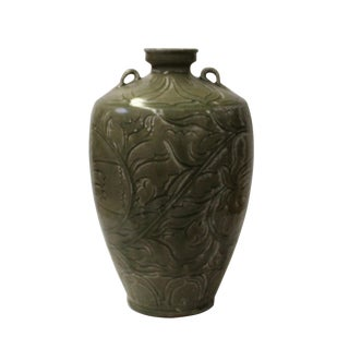 Chinese Handmade Ceramic Gray Green Floral Motif Vase Jar For Sale