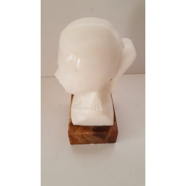 Alabaster Asian, Vintage Alabaster Male and Female Bust Sculptures - a Pair For Sale - Image 7 of 10