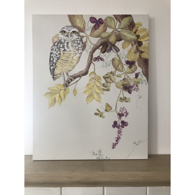 """Gray """"Owl You Need Is Love"""" Botanical Bird Painting by Allison Cosmos For Sale - Image 8 of 8"""