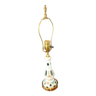 White Cut to Emerald Bohemian Art Glass Table Lamp For Sale