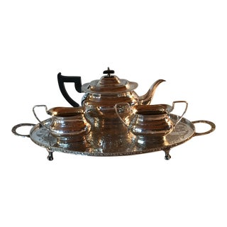 Silver Tea Set on Footed Tray by Viners, Sheffield - Set of 4 For Sale
