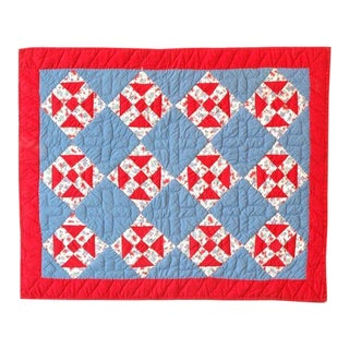1930s Red, White and Blue Doll Quilt For Sale