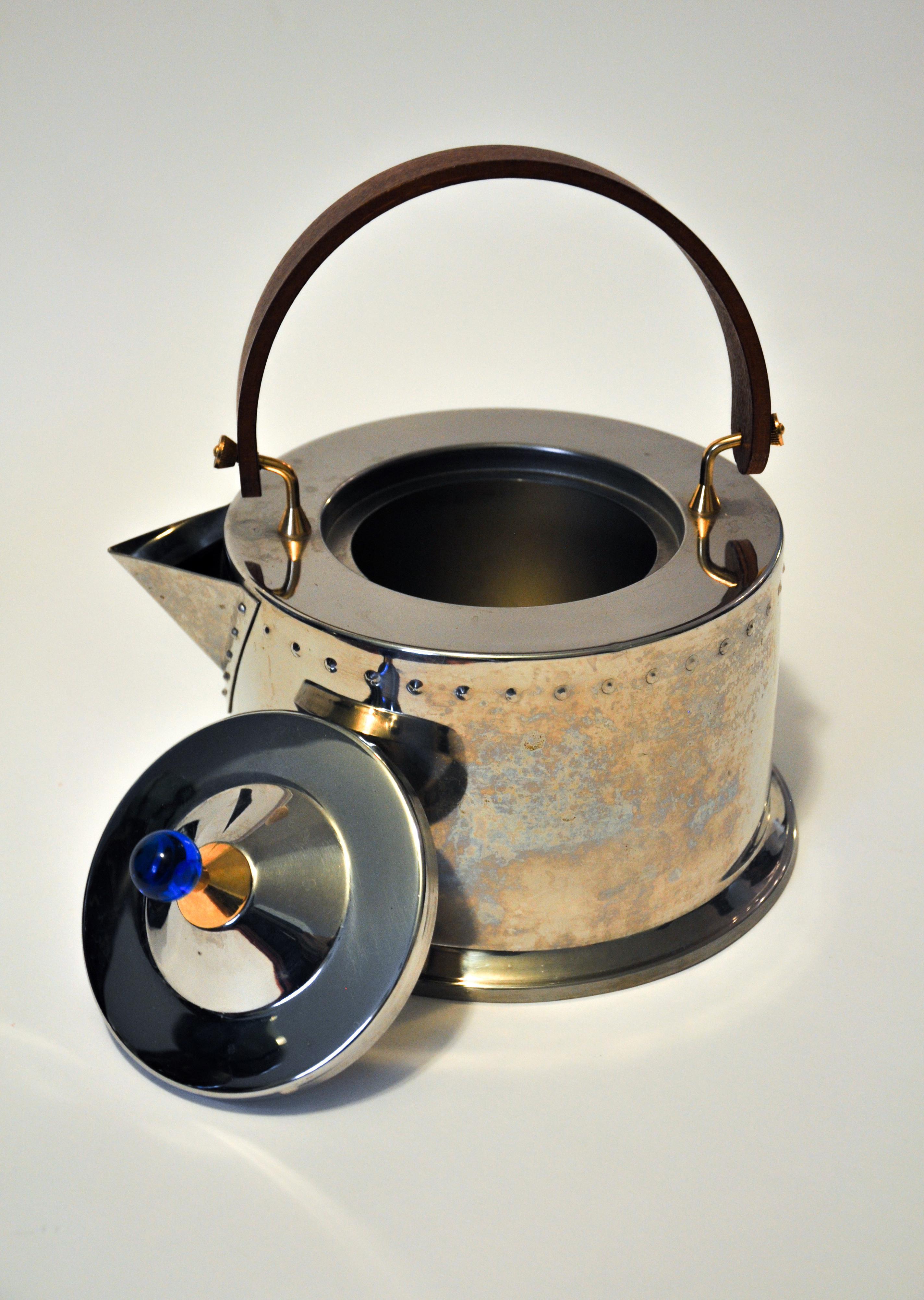 1980s C Jorgensen Bodum Ottoni Stainless Steel Tea Kettle