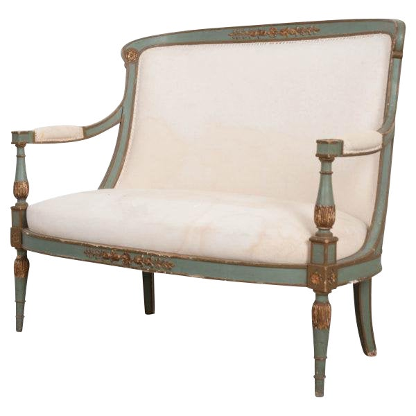 French 19th Century Parcel Gilt Empire Settee For Sale