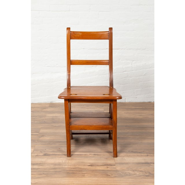 Asian Vintage Dutch Colonial Metamorphic Teak Step Ladder Folding Side Chair For Sale - Image 3 of 13