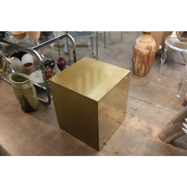 Early 21st Century Bridges Over Time Originals Brass Coated Cube Table For Sale - Image 5 of 10