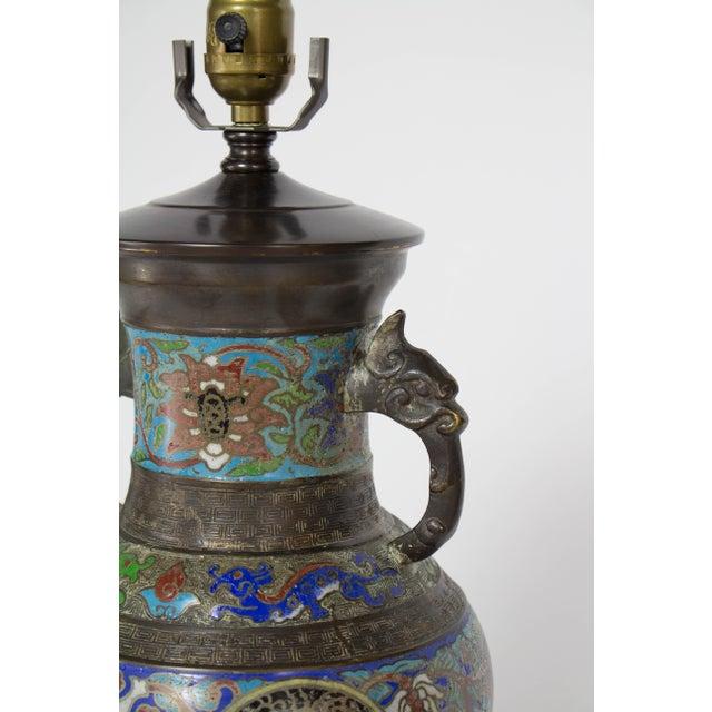 Blue Restored Vintage Champleve Table Lamp For Sale - Image 8 of 9