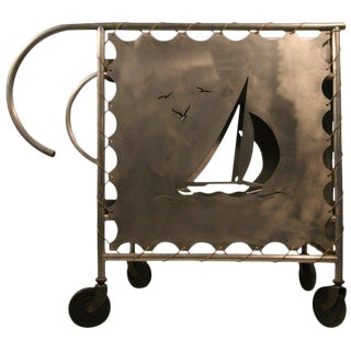 Mid-Century Modern Nautically Themed Bar Cart For Sale