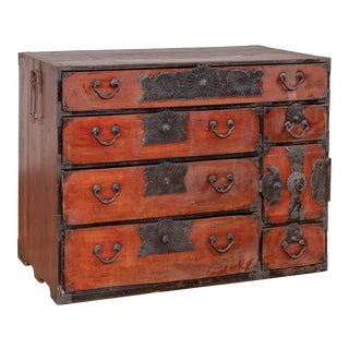 Japanese Meiji Period Tansu Chest in the Sendai Dansu Style Made of Keyaki Wood For Sale