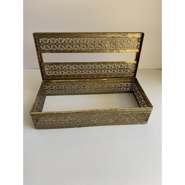 1960s Midcentury Brass Decor Tissue Box For Sale - Image 5 of 12