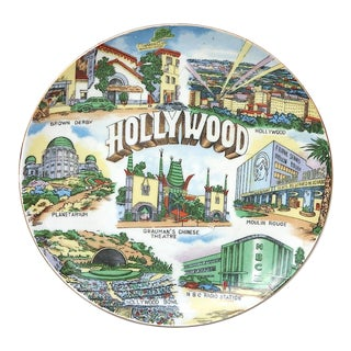 Vintage Hollywood Travel Souvenir Wall Plate For Sale