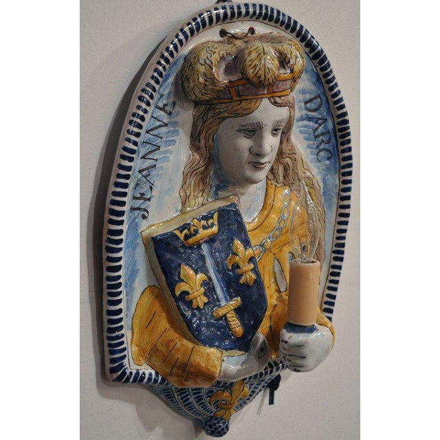 Ceramic 19th Century French Joan of Arc & Duc d'Orleans Faience Sconces - A Pair For Sale - Image 7 of 10