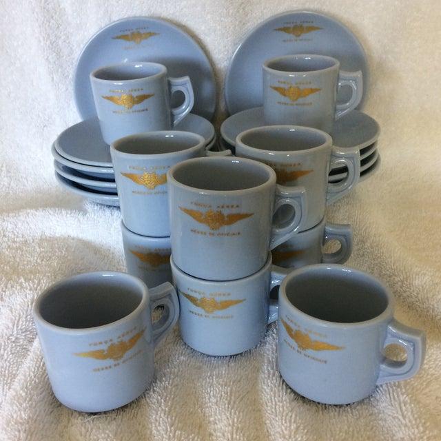 "Very Rare Vintage Set of Vista Alegre Impact Baby Blue Portuguese ""Forca Aerea Messe De Oficiais"" Demitasse Cups & Saucers -Set of 10 For Sale - Image 11 of 13"