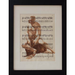 Original Watercolor of Male Nude on Vintage Music Sheet, Framed For Sale
