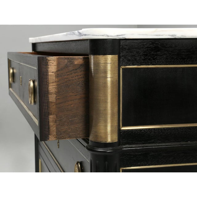 French Louis XVI Ebonized Commode With Marble For Sale - Image 4 of 11