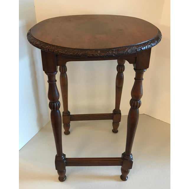 Brown Vintage Carved Top Oval Shaped Drink Table For Sale - Image 8 of 8