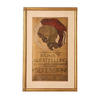 Original, Authentic and Vintage Franz Stuck European Stone Lithograph Poster For Sale