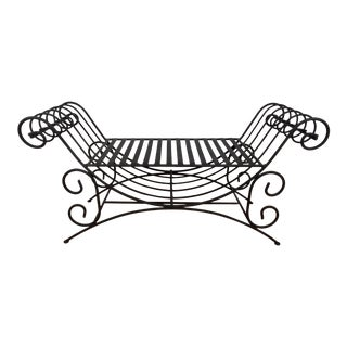 Vintage Mediterranean Style Spanish Style Wrought Iron Two Seat Black Bench Seat For Sale