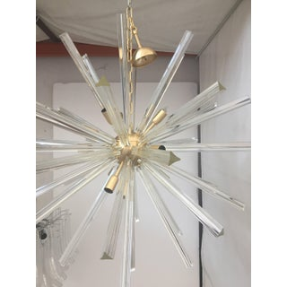 Chandelier Transparent Clear Murano Glass Triedo Sputnik Chandelier with a Gold Frame Preview