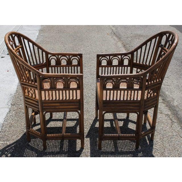 Chinoiserie Bamboo Rattan Brighton Pavilion Chairs With Caning- a Pair For Sale - Image 9 of 11