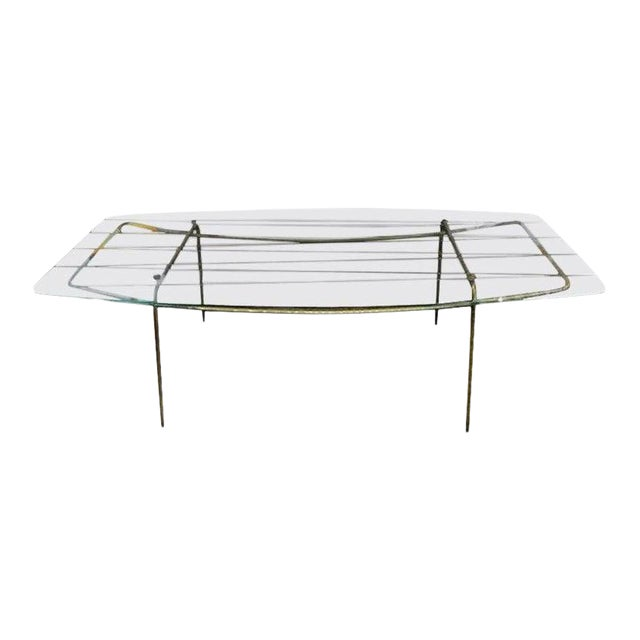 Italian Gio Ponti Inspired Brass and Glass Coffee Table For Sale
